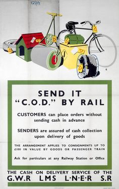 'Send it C.O.D. by Rail' Vintage UK Railway Poster #misc