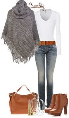 """Mk Boots & Large Tote, Sweater Poncho"" by casuality ❤ liked on Polyvore"