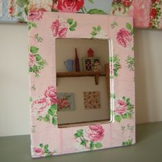 Shabby chic pink rose decoupage wall mirror