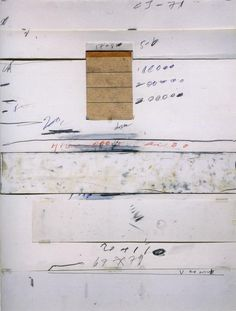 Cy Twombly, Untitled, Capri, 1970.  Collage, paper stripes, scotch tape, wax crayon,  lead pencil, coloured pencil on drawing cardboard, 29⅜ x 27⅝ in.