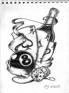 Tattoos Sketch, 8ball #tattoo #tattoossketch #sketch Re-pinned from Billy Perkins http://janeemotion.deviantart.com/art/new-school-tattoo-119209229