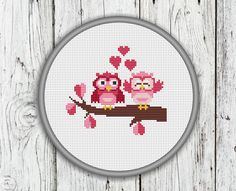 Valentine's Day Owls Cross Stitch Pattern Owl by CrossStitchShop
