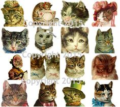 Vintage Victorian Cats Collage Sheet #101