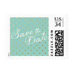 Blue Wedding Save the Date Cards Save the Date Polka Dots Faux Gold Mint Blue Postage Stamp