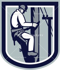 artwork, climbing, construction, electrician, electricity, graphics, illustration, post, power cable, power lineman, repairing, repairman, r...