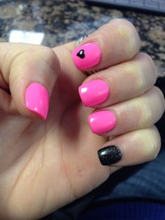 Hot pink and black nails with heart