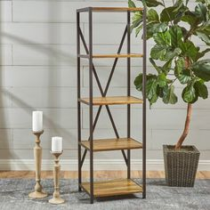 Gracie Oaks Burville Wood Standard Etagere Bookcase Size: H x 4 Shelf Bookcase, Etagere Bookcase, Bookshelves, Solid Wood Shelves, Wooden Shelves, Wood Shelf, Rustic Shelves, Wood Ladder, Ladder Decor