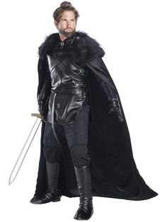 Mens Medieval Prince Knight Hooded Robe Game Of Thrones Fancy Dress Costume