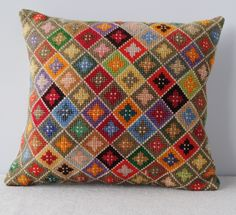 Joy Thorpe & Online furniture & curious & art shop selling original prints and a& Joy Thorpe & Online furniture & curious & art shop selling original prints and antiques & Vintage Cross Stitch Cushion The post Joy Thorpe Bargello Needlepoint, Broderie Bargello, Needlepoint Pillows, Needlepoint Designs, Needlepoint Stitches, Needlework, Vintage Cross Stitches, Vintage Embroidery, Embroidery Patterns