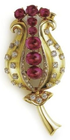"""""""Tulip"""" Brooch made by Rene Boivin in the 1940's"""
