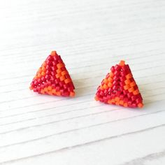 Orange Earrings, Stud Earrings, Fiery Red, Needle And Thread, Home Crafts, Seed Beads, Presents, Colours, Sally