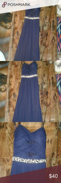 Beautiful long blue dress Formal long gorgeous strapless navy blue floor length dress with stunning bead work under breast area.top is pleated with lace incerts. Zips up back.sheer top layer fully lined. City Triangles Dresses Strapless