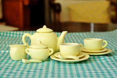 Child's yellow tea set