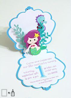 Sirena Mermaid invitaciones emergente cumpleaños