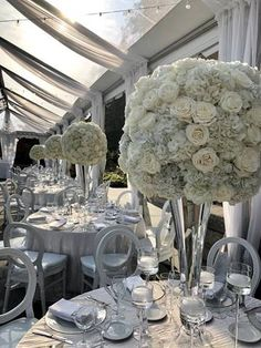 Classic and compact all white tall wedding centerpiece. White Centerpiece, Tall Wedding Centerpieces, Centerpiece Ideas, All White, Table Numbers, Compact, Floral Design, Reception, Chandelier
