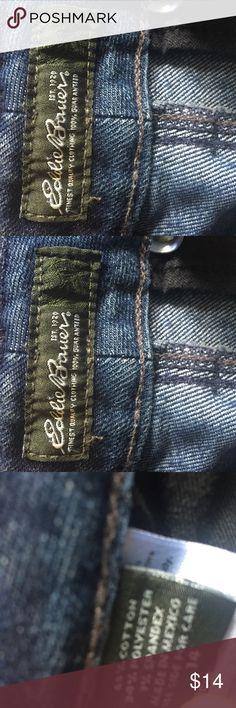 Eddie Bauer Wide Leg Denim Trouser Pants Eddie Bauer Wide Leg Denim Trouser Pants.  Dark wash.  65% cotton, 34% polyester, 1% spandex Size 14 Eddie Bauer Jeans Flare & Wide Leg