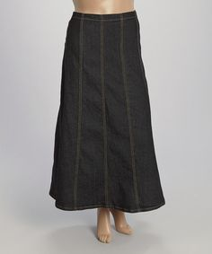 Love this Black Denim Maxi Skirt - Plus on #zulily! #zulilyfinds
