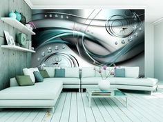 Tyrkysový příliv Living Room Wall Wallpaper, 3d Wallpaper For Walls, Custom Wallpaper, Interior Design Living Room, Living Room Designs, Wall Design, House Design, Dream House Exterior, Room Paint