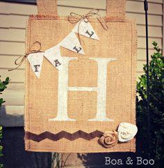 Personalized Fall Burlap Yard Flag With Burlap Banner by BoaAndBoo, $27.00