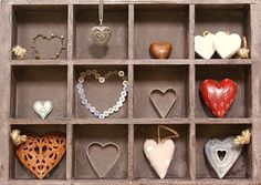 Box of Hearts..what a great display of a collection! Great inspiration