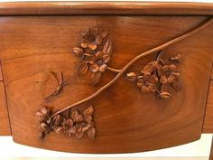 """...""""blossoms and the bee sideboard""""..mahogany..detail view...jeffrey roberts...furniture maker..carver....unity..new hampshire...primarily wood..."""