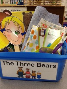 The three bears story retell basket Fairy Tale Activities, Book Activities, Teaching Resources, Kindergarten Language Arts, Kindergarten Activities, Character Activities, Reading Buddies, Story Sack, Creative Arts Therapy