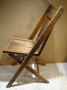 Antique Simmons Wooden Folding Chair Vintage Wood Slat Seat Fold Park Seat  Wood