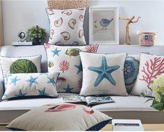 """18 """" capa de almofada de linho de algodão série mediterrâneo Ikea sofá decorativo jogar travesseiro fronha almofadas de carro alishoppbrasil"""