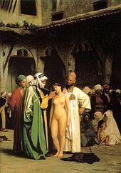 Arab slave trade - The Slave Market (c. 1884), painting by Jean-Léon Gérôme.