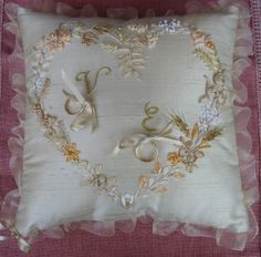 The rings cushion for my daughter's wedding #silkribbonembroidery #weddingaccessories