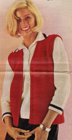 Vintage Knitting Pattern Instructions to Make a Ladies Waistcoat 4 Sizes 1960 s