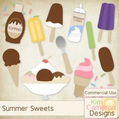 Daisies & Dimples Summer Sweets CU [kimcameron_summersweets] - Cool off this summer with some sweet ice cream and popsicle templates! Includes a PSD and separate PNG layers for a banana split, 4 ice creams, 3 popsicles, ice cream scoop, sprinkles, syrup topping bottle and whipped cream. Commercial use ok!