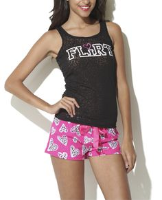 """Have a slumber party with Wet Seal! We love our """"Flirt Animal Heart Short Set""""! Cute Pajamas, Short Set, Wet Seal, Amanda, Athletic Tank Tops, Gym Shorts Womens, Outfit Ideas, Cute Outfits, Bodycon Dress"""