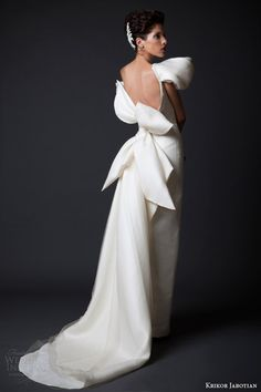 krikor jabotian wedding dresses fall winter 2014 2015 amal couture collection off shoulder gown oversized bow back view -- Krikor Jabotian Fall/Winter Sleek Wedding Dress, 2015 Wedding Dresses, Mod Wedding, Bridal Dresses, Wedding Gowns, Wedding Blog, Wedding Ideas, Backless Evening Gowns, Formal Evening Dresses