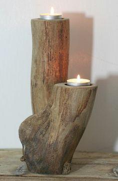 treibholz deko kerzenhalter diy tisch weisse wand licht kerzen selber machen