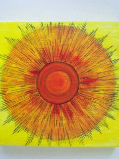 Painting Acrylic on wood Sonshine by NonisEclecticShop on Etsy, $15.00