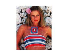 70s Bandeau Halter Top Crochet Pattern Summer by oldschoolwoolens