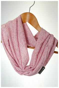 Pink, Heathered, Striped Texture Infinity Scarf