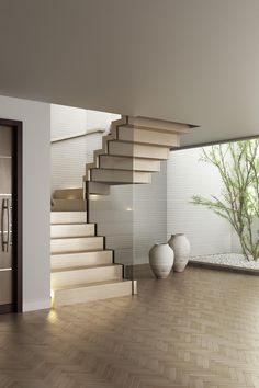40 Luxury Glass Stairs Ideas - Modern Home Design Home Stairs Design, Interior Stairs, Basement Stairs, House Stairs, Couleur Feng Shui, New Staircase, Staircase Ideas, Staircase With Landing, Traditional Staircase