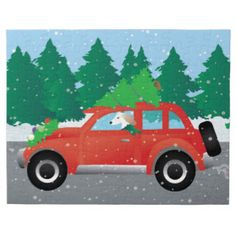 Saluki Driving Christmas Car with Tree on Top Jigsaw Puzzle