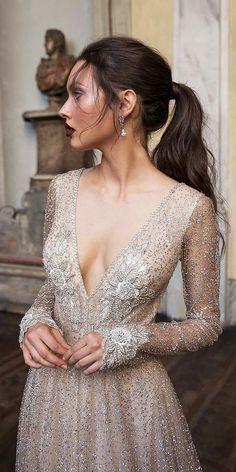 birenzweig wedding dresses deep v neckline with long sleeves beaded sequins nude. , birenzweig wedding dresses deep v neckline with long sleeves beaded sequins nude detail Source by martajoannakuja , , , Beauty Bridal Dresses, Wedding Gowns, Prom Dresses, Silver Wedding Dresses, Short Girl Wedding Dress, Nude Long Dresses, Colored Wedding Dress, Luxury Wedding Dress, Luxury Dress