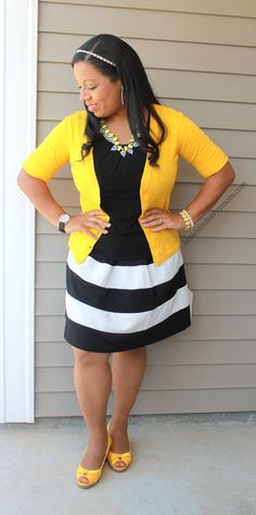 effortlessly stylish in this black and white affordable skirt. Great modest outfit for moms