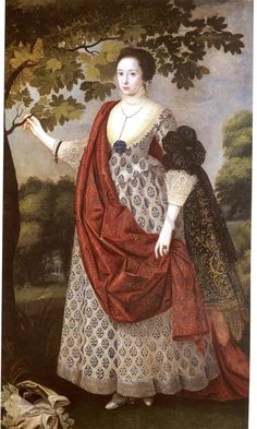 Cecilia Nevill (or Cecily Neville), wife of Fitzwilliam Coningsby of Hampton Court, Herefordshire, MP, a royalist. Dau. of Henry Neville, 7th Lord Abergavenny and Lady Mary Sackville. Ancestress of the Viscounts Gormanston. By Robert Peake, c. 1617, Weiss Gallery.