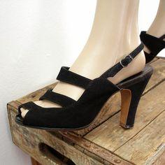 Vintage 1940s High Heels / 40s Black Strappy by LookAgainVintage