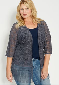 plus size lace cardigan with fringe (original price, $39) available at #Maurices