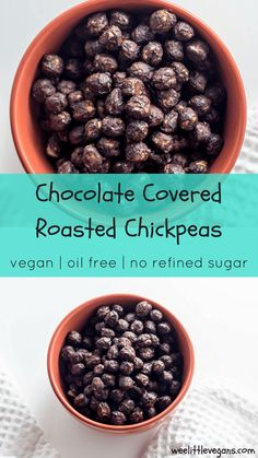 Recipes Snacks Protein Satisfy your afternoon snack craving with these 4 ingredient Chocolate Covered Roasted Chickpeas. A great source of protein, oil free, and made with no refined sugars. Chickpea Snacks, Healthy Vegan Snacks, High Protein Snacks, Healthy Recipes, Protein Foods, Healthy Meats, Vegan Lunches, Eating Healthy, Whole Food Recipes