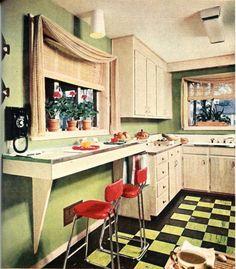 1954 - Better Homes and Gardens. a green mid-century-modern kitchen… Rustic Kitchen, New Kitchen, Vintage Kitchen, Kitchen Decor, Kitchen Tips, Vintage Light Fixtures, Modern Light Fixtures, Kitchen Flooring, Kitchen Backsplash