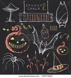Vintage Chalkboard Halloween Hand Drawn Jpeg Set 2 Spooky hand drawn chalk elements to embellish your layout.