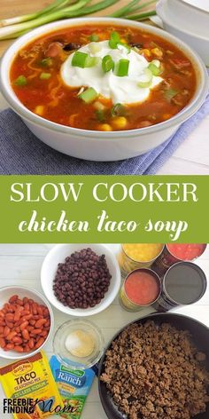 If you're a fan of Taco Tuesday, you've gotta try this delicious and easy Chicken Taco Soup Slow Cooker recipe! You only need a few minutes to throw together this Crock Pot recipe that will quickly become a family favorite. Simply dump all your ingredient Taco Soup Slow Cooker, Slow Cooker Chicken Tacos, Slow Cooker Huhn, Slow Cooker Recipes, Soup Recipes, Crockpot Meals, Free Recipes, Chicken Cooker, Recipies