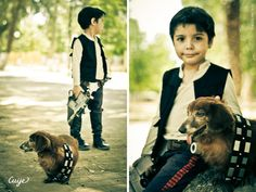 Mini Han Solo and Chewbacca, the 12-Year-Old Dachshund.<< I can't not pin this, it is too cute.